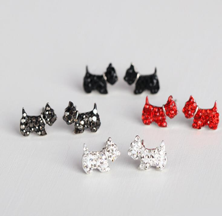 Idolra Jewelry S925 Silver Lovely Dog with 3A Zircon Earring