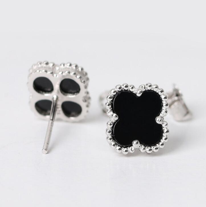 Idolra Jewelry S925 Silver Lucky Clover With 3A Zircon Earring
