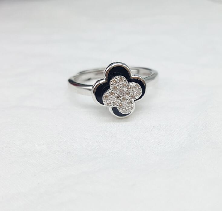 Idolra Jewelry S925 Silver four-leaf clover with 3A Zircon Ring