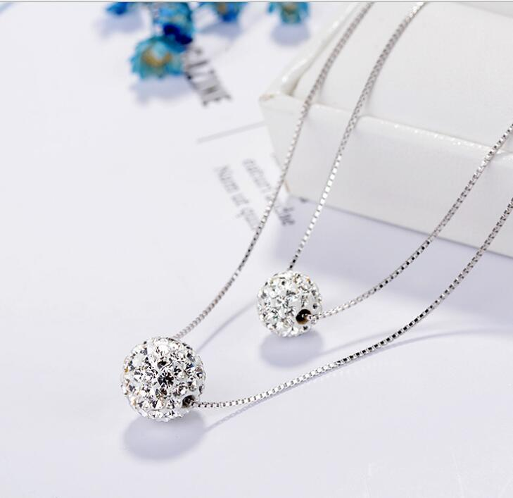 Idolra Jewelry S925 Silver Roundness Necklace with 3A Zircon Necklace