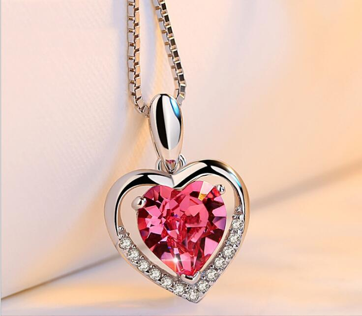 Idolra Jewelry S925 Silver Diamond Heart Necklace with 3A Zircon Necklace