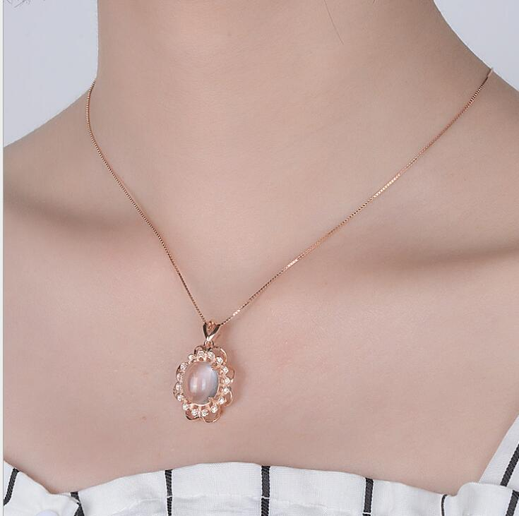 Idolra Jewelry S925 Silver Ross QuartZ Necklace with 3A Zircon Necklace