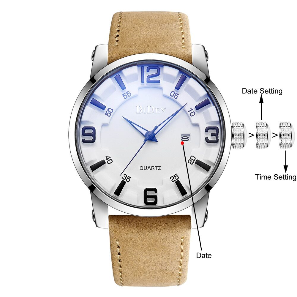 0050 BIDEN Quartz Leather Band Date Watch