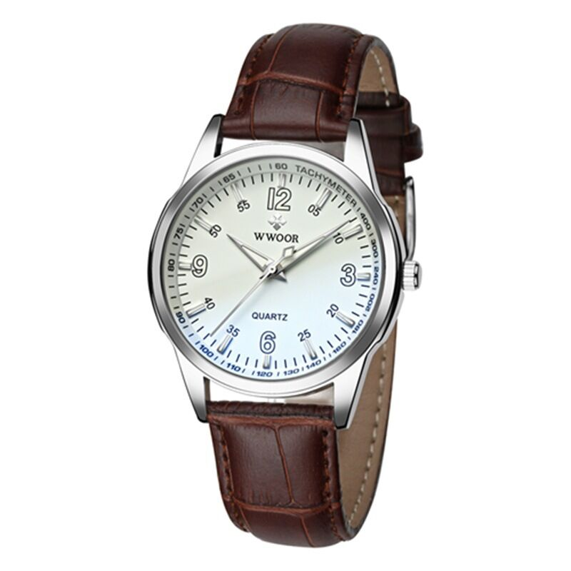 8861 WWOOR Quartz Movement Leather Band Watch
