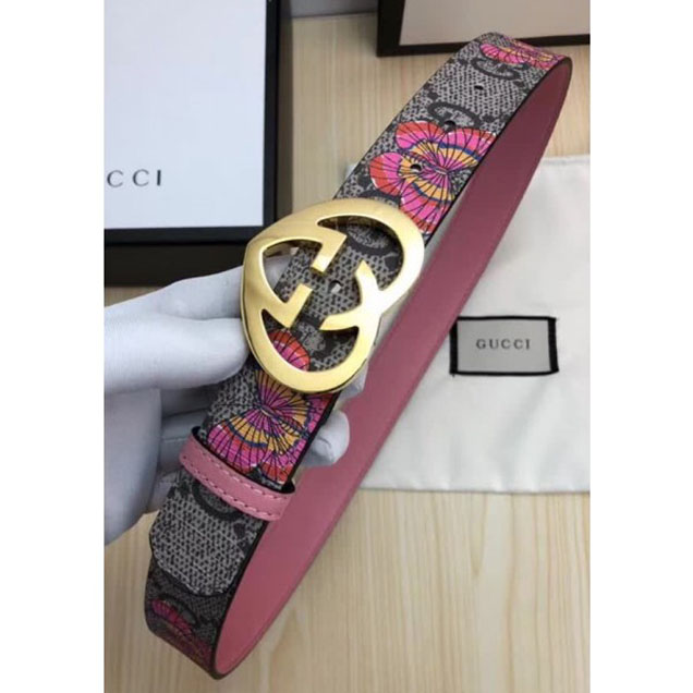 Gucci GG Print Belt with Gold Heart Buckle 35mm Width Grey/Pink 2017