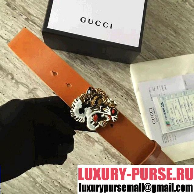 Gucci Leather Belt With Tiger Buckle Brown 2017 (SLP-7052719 )