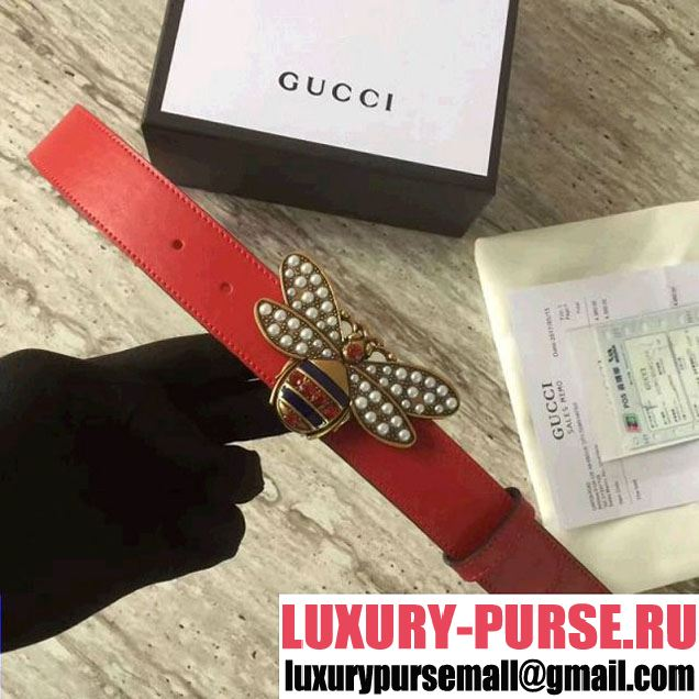 Gucci Queen Margaret Leather Belt With Metal & Jeweled Bee Buckle Red 2017 (SLP-7052718 )