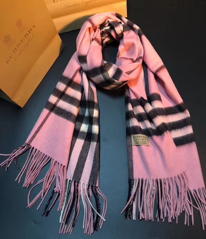 Burberry Classic Check Cashmere Scarf Pink