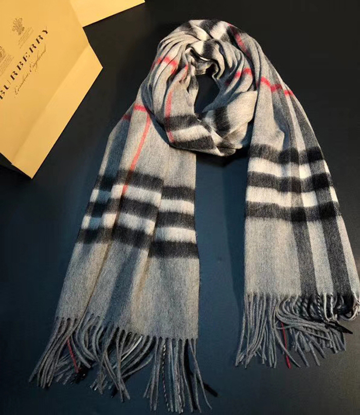 Burberry Classic Check Cashmere Scarf Gray