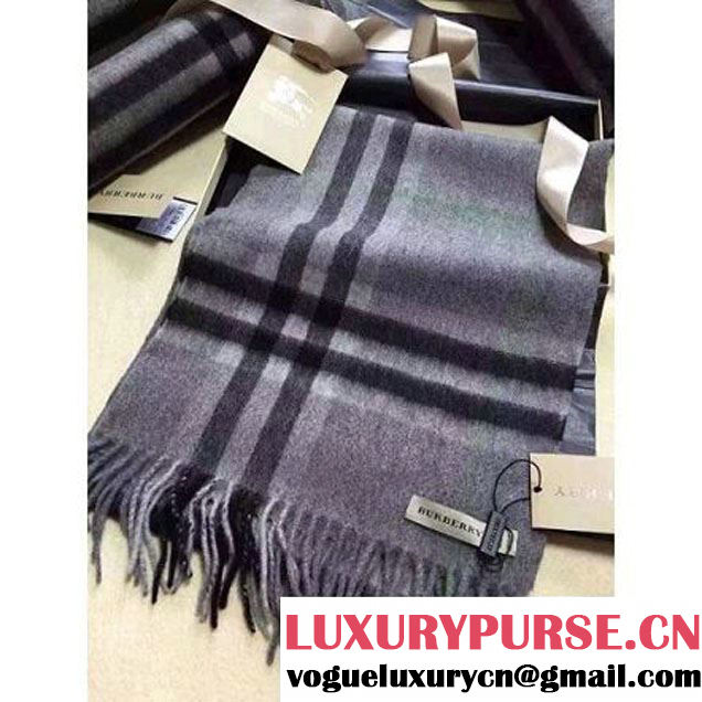 Burberry The Classic Cashmere Scarf In Deep Grey Check (GD-102119 )