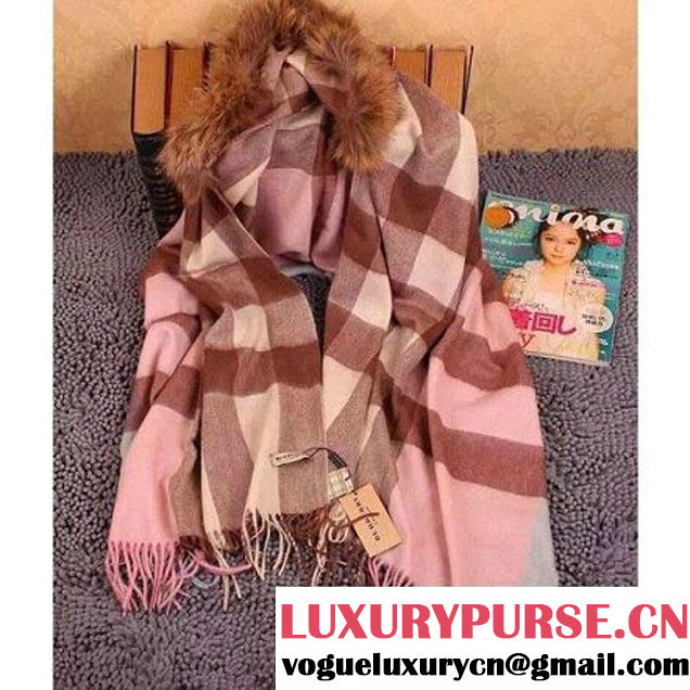 Burberry Classic Cashmere and Wool Shawl with Raccoon Hair Pink (102938 )