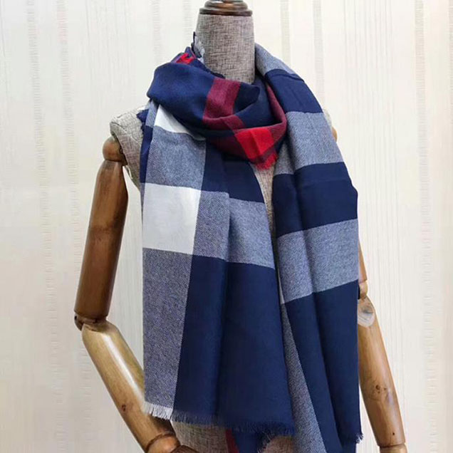 Burberry Check Cashmere Scarf Navy