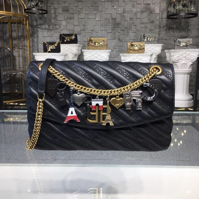 Balenciaga Lock Round BB Logo Quilted Matelasse Charms Chain Shoulder Bag 28cm Calfskin Leather Spring Summer 2018 Collection Black