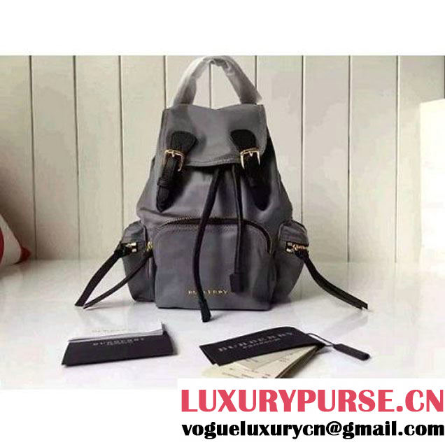 Bur. Small Rucksack In Technical Nylon And Leather Backpack Gray (2A016-6062822 )