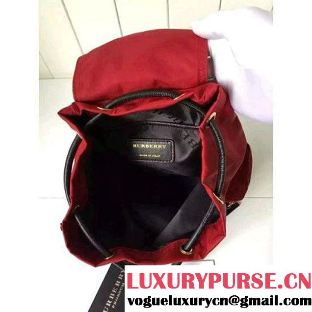 Bur. Small Rucksack In Technical Nylon And Leather Backpack Red (2A016-6062825 )