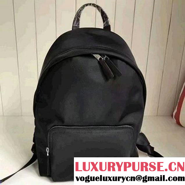 Burberry Leather Trim Technical Backpack Black 2017 (2A016-7060927 )