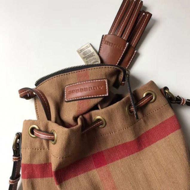 Bru.House Check and Leather Bucket Bag Brown 2018 Collection