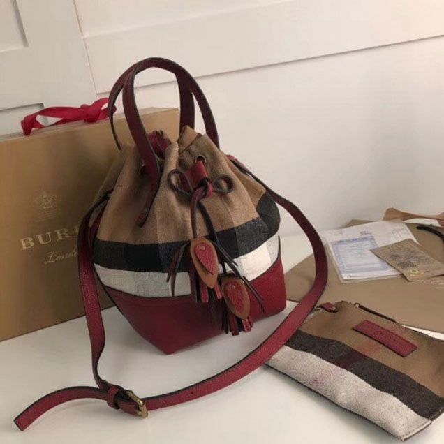 Burberry House Check and Leather Tassel Drawing Bucket Bag Burgundy 2018 Collection