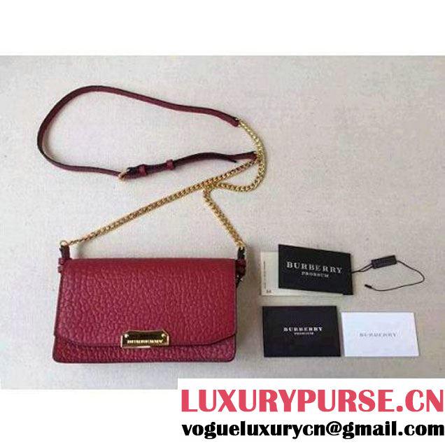 Burberry Small Signature Grain Leather Clutch Bag With Chain Burgundy (2a016-081718 )