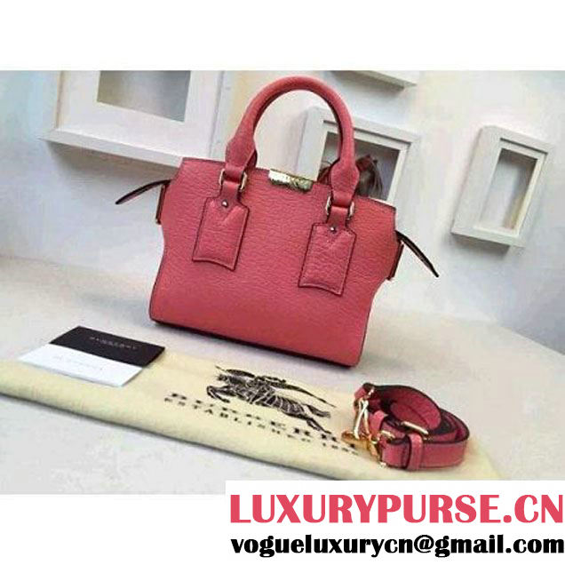 Burberry Small Signature Grain Leather Tote Bag In Rose Pink (2A016-080535 )