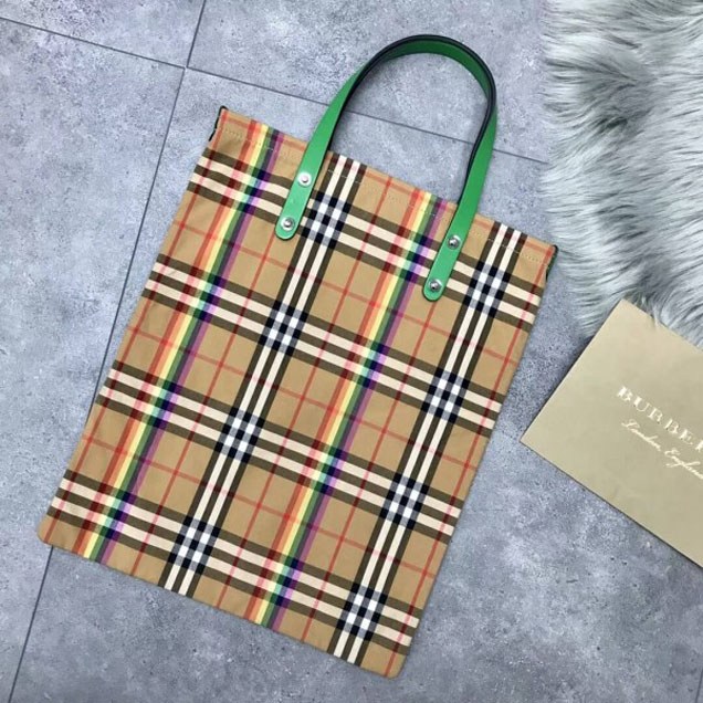Burberry Small Shopping Tote in Rainbow Vintage Canvas and Green Leather 2018 Collection