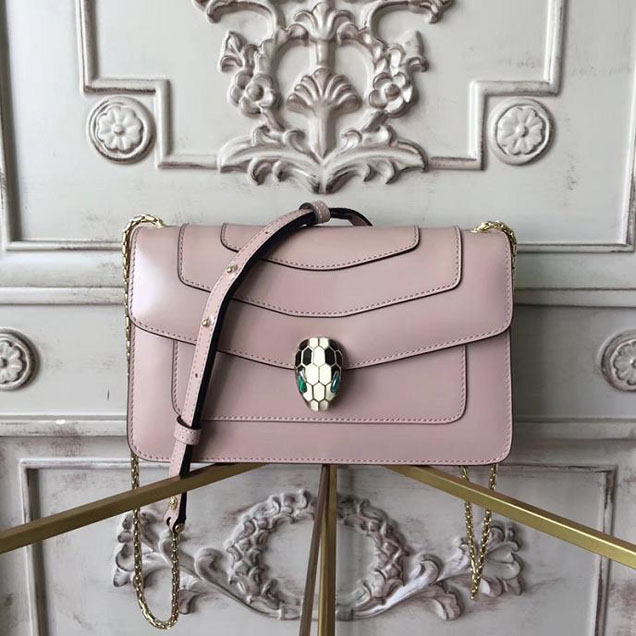 Bulgari Serpenti 22cm Medium with Single Gusset Bag Patent Calfskin Leather Pre-Fall 2017 Collection Beige