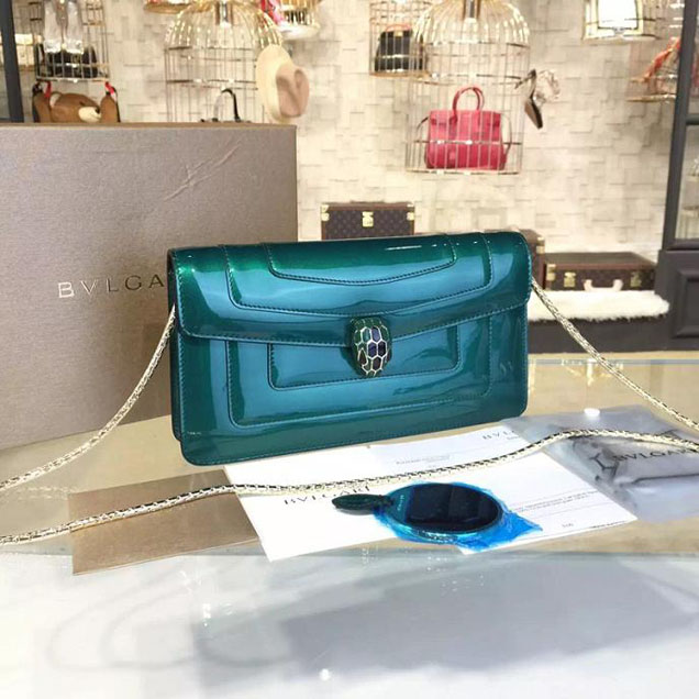Bulgari Serpenti 23cm Small Clutch Bag Fall 2016 Collection Patent Calfskin Leather Green