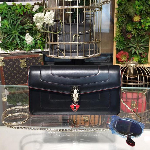 Bulgari Serpenti Heart Forever 23cm Single Gusset Bag with Black Piping Calfskin Leather Spring Summer 2018 Collection Black