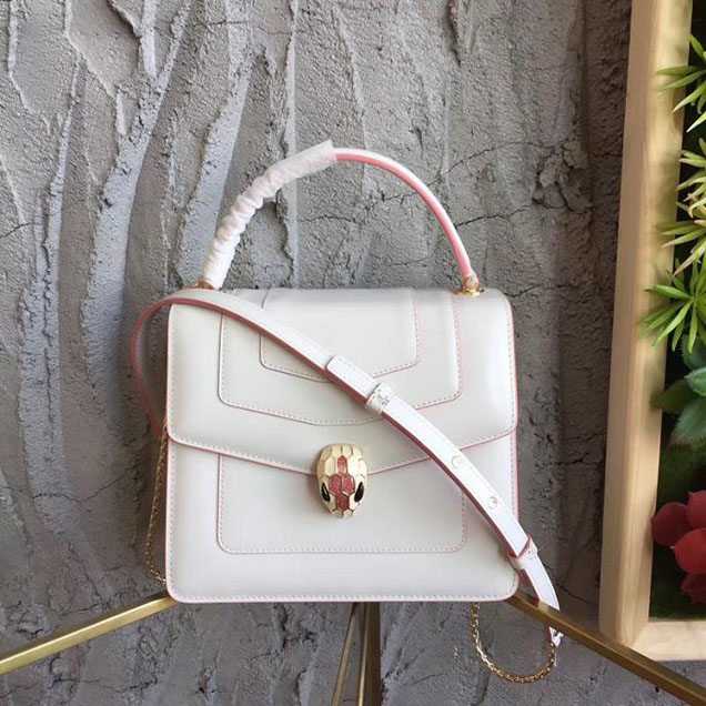 Bulgari Serpenti Top Handle 20cm Mini Calfskin Leather Pre-Fall 2017 Collection White with Pink Piping