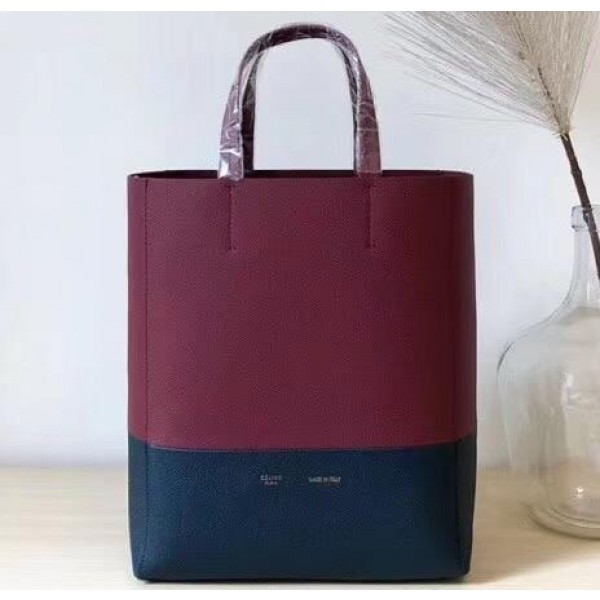 Celine Small Cabas Shopping Bag in Grained Calfskin 189813 Burgundy/Black 2019