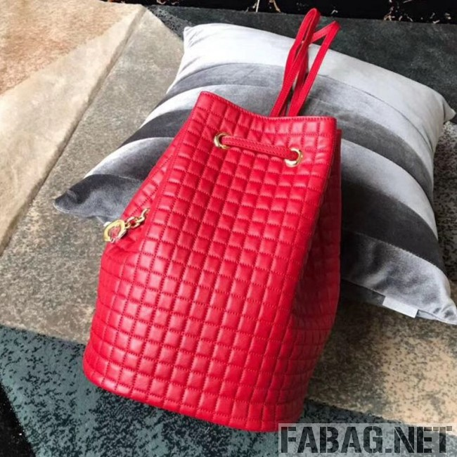 Celine Small C Charm Bucket Shoulder Bag/Backpack in Quilted Calfskin 188373 Red 2019 (JDP-9032719 )