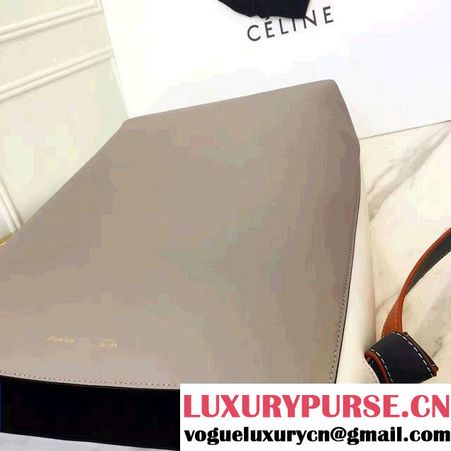 Celine Shiny Smooth Calfskin Small Twisted Cabas Bag Gray/White 2016