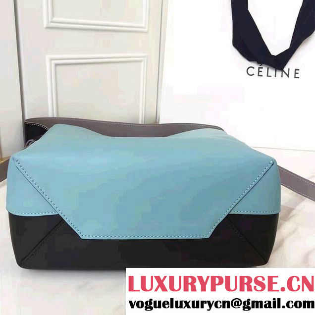 Celine Shiny Smooth Calfskin Small Twisted Cabas Bag Black/Cyan 2016