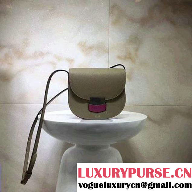 Celine Small Trotteur Shoulder Bag In Natural/Smooth Calfskin Kahki/Rosy 2017 (1A021-7040712 )