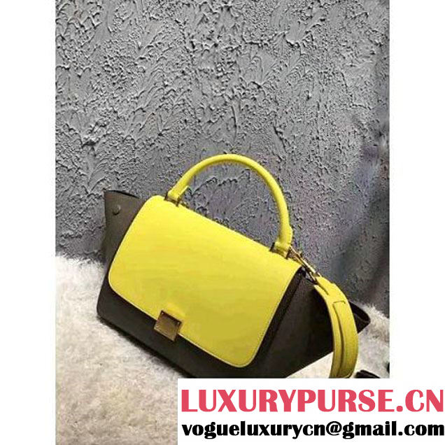 Celine Small Trapezre Tricolor Bag In Grainy & Smooth Calfskin Yellow/Brown 2017 (OZZ-7041225 )