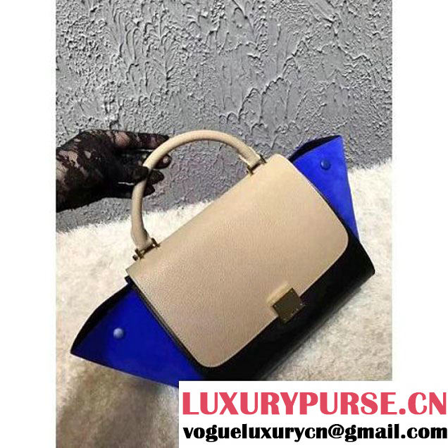 Celine Small Trapezre Tricolor Bag In Grainy Calfskin & Suede Leather Beige/Black/Royal Blue 2017 (OZZ-7041227 )