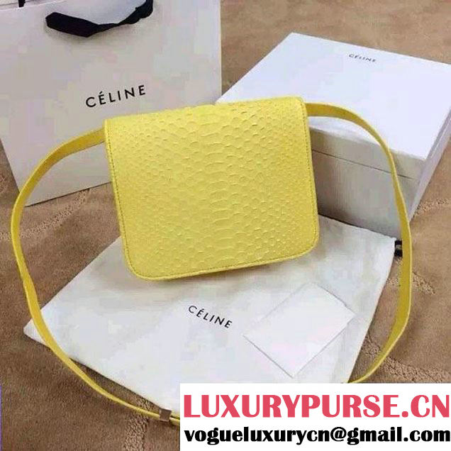 Celine Python Leather Classic Box Bag Yellow 2015