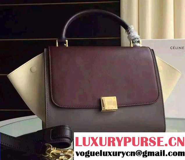 Celine Trapeze Small/Medium Tote Bag in Original Calfskin Leather Burgundy/Iron Gray/Creamy