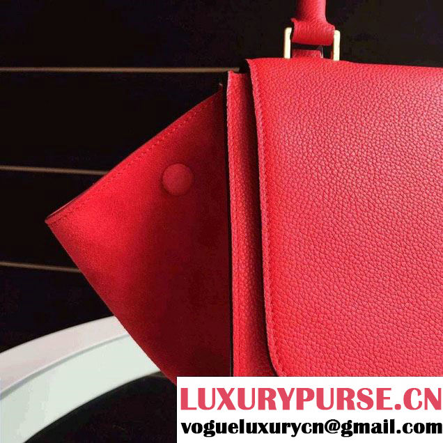 Celine Trapeze Small/Medium Tote Bag in Original Grained Leather Red