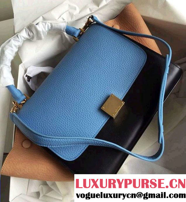 Celine Trapeze Small/Medium Tote Bag in Original Leather Grained Ice Blue/Black/Crinkle Apricot 2016