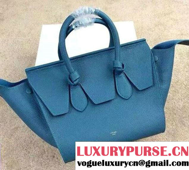 Celine Tie Tote Mini Bag in Clemence Leather Cerulean 2015