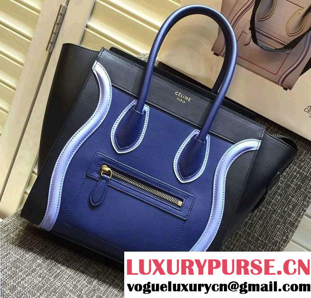 Celine Luggage Micro Tote Bag in Original Leather Black/Royal Blue/Sky Blue 2016