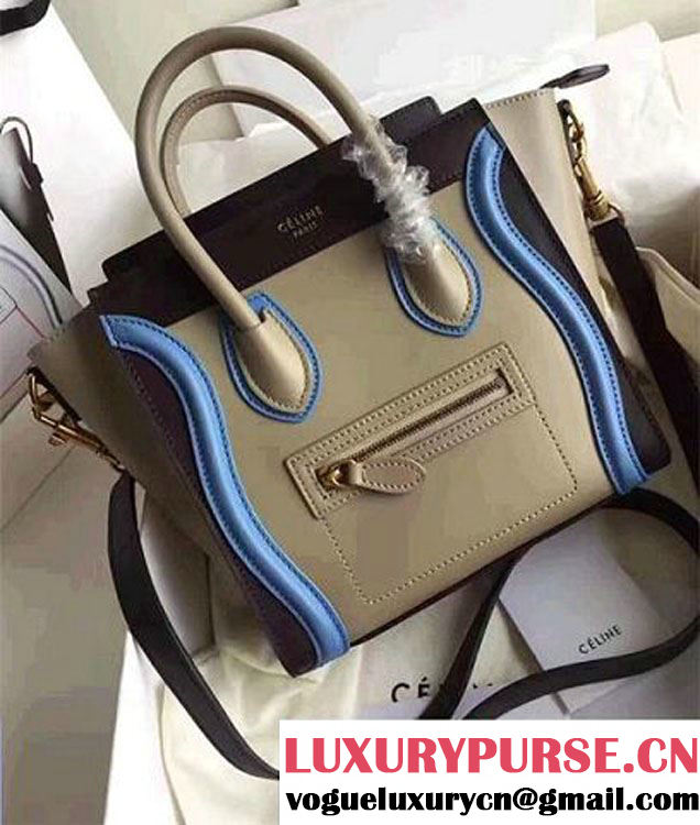 Celine Luggage Nano Tote Bag In Original Leather Gary/Black/Light Blue