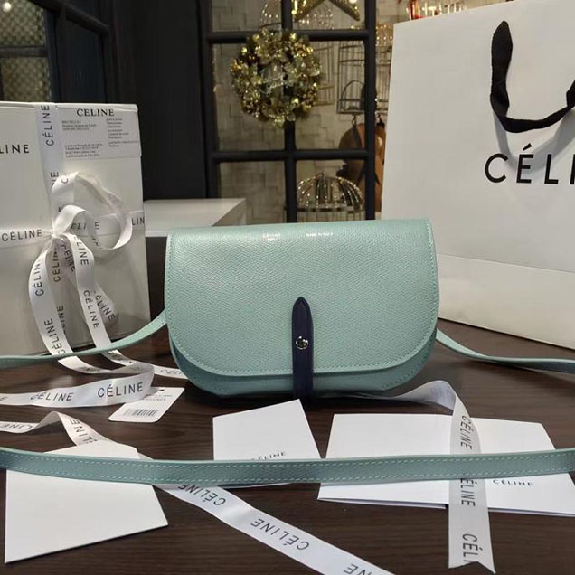 Celine Clutch on Strap Bag Grained Calfskin Pre-Fall Winter 2016 Collection Light Blue Navy