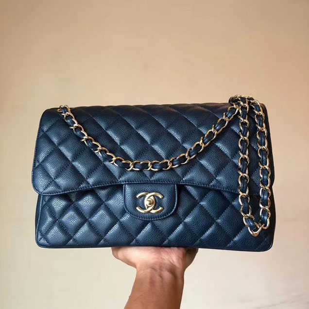 Chanel Classic Flap Bag 30cm Navy Grained Calfskin Gold-Tone Metal