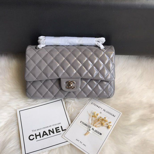 Chanel Classic Double Flap Bag 25cm Silver Hardware Patent Lambskin Leather Spring Summer Act 2 2018 Collection Grey