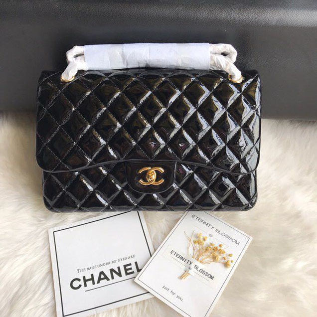 Chanel Classic Double Flap Bag 30cm Gold Hardware Patent Lambskin Leather Spring Summer Act 2 2018 Collection Black