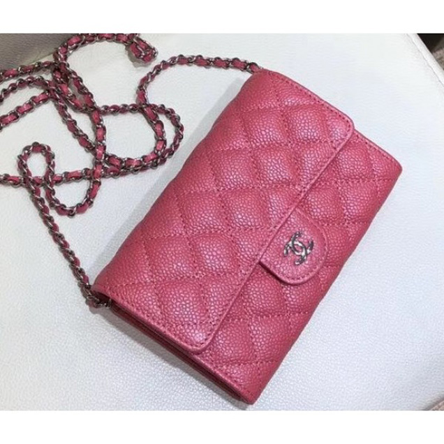 Chanel Classic Clutch with Chain WOC Bag A84512 Grained Calfskin Pink/Silver 2018