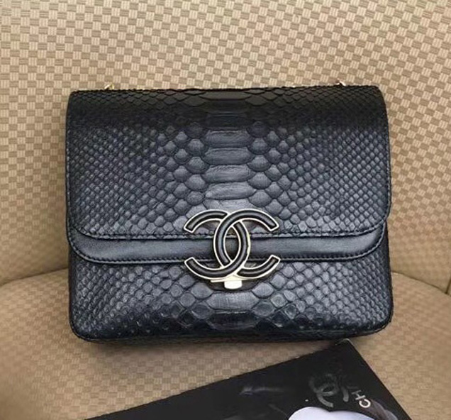 Chanel Original Flap Bag Python Lambskin Gold-Tone Metal A57277 Black