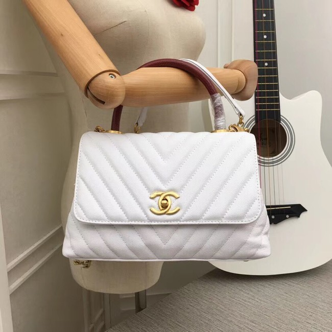 Chanel Flap Bag with Top Handle 36620 white